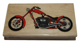"Motorcycle Rubber Stamp Chopper New Wood Mounted 4"" Long 2"" High  - $7.91"