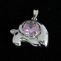 Beautiful Sterling silver women's Pendant with a round cut Sparkling pin... - $37.00