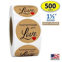 "1.5"" Inch Round Kraft, Homemade with Love, Sticker with Black Font and R... - $7.46"