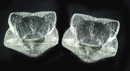 Vintage Pair of  Heavy Textured Glass Candlestick Holders - $15.00