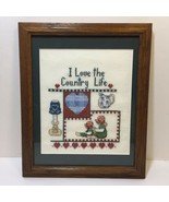 """I Love the Country Life Finished and Framed Cross Stitch 11.5"""" x 9.5"""" - $19.34"""