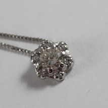 SOLID 18K WHITE GOLD NECKLACE, FLOWER, SUN WITH DIAMONDS, DIAMOND MADE IN ITALY image 3