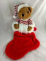 "Commonwealth Bear Plush Red Stripe Pajamas Holiday Stocking 22"" Stuffed ... - $36.22"