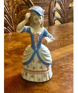 Blue Victorian woman figurine with flower in her hand Zaphin made in Spain - $75.00