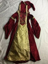 Princess Renaissance Maiden Medieval Girls Red Velvet Dress Costume 7/8 ... - $28.04