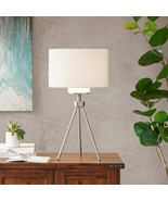 """Ink & Ivy Pacific Silver Tripod Table Lamp w/ Whitish Gray Shade 29""""H - $145.00"""