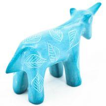 Tabaka Chigware Hand Carved Kisii Soapstone Sky Blue Unicorn Figurine Made Kenya image 4