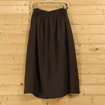 Cotton Linen Wrap Skirts Women A Line Long Casual Skirt, Khaki Army Green Black image 9