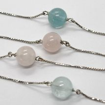 18K WHITE GOLD LARIAT NECKLACE VENETIAN CHAIN AKOYA PEARL, GREEN PINK AQUAMARINE image 3