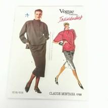 Vogue 1768 Claude Montana Skirt Top Size 8 Individualist Vintage Pattern... - $19.99