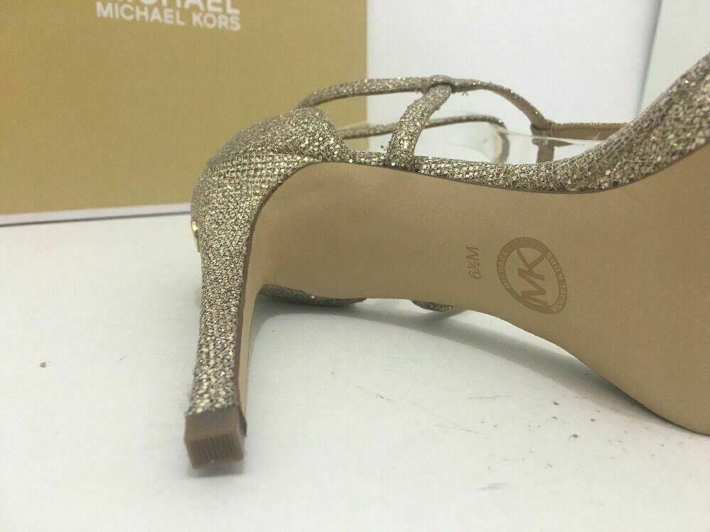 Michael Kors Simone Women Evening Platform High Heels Sandals 6.5 Silver Glitter image 11