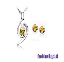 Swirl Champagne Yellow Austrian Crystal Jewelry Set - $5.99