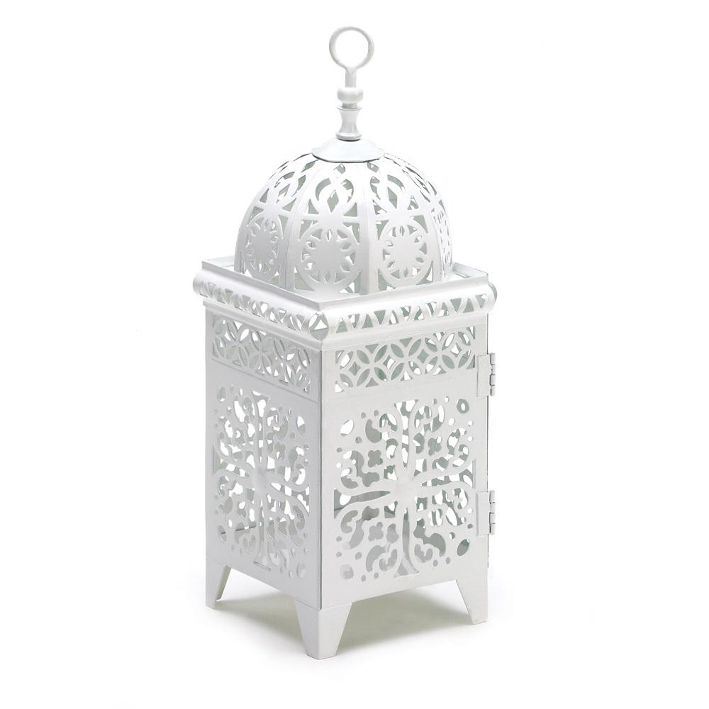 White Scrollwork Candle Lantern 10038332
