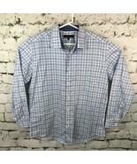 Ben Sherman Mens Sz L 16.5 32-33 Dress Shirt Blue Plaid Long Sleeve Butt... - $19.79