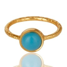 925 Sterling Silver Natural Turquoise Gemstone 14K Yellow Gold Plated Je... - $14.00