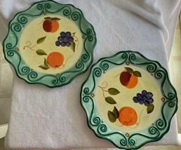 "Tabletops Unlimited Medici 2 Round Dinner Plates Green Fruit 92521 Scrolls 11"" - $39.99"