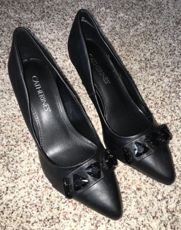 Primary image for Catherines Shoes Black Poise Heel Pumps Womens Plus 8 9 10 11 12 Wide NIB