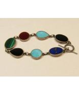 Sterling Silver Turquoise Lapis Lazuli Onyx Malachite Toggle Clasp Bracelet - $77.22