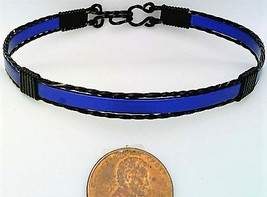 Blue Anodized Aluminum Black Copper Wire Wrap Bracelet 4 - $13.00