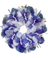 Glittering Silver And Blue Hanukkah Deco Mesh Ribbon Wreath - $89.99