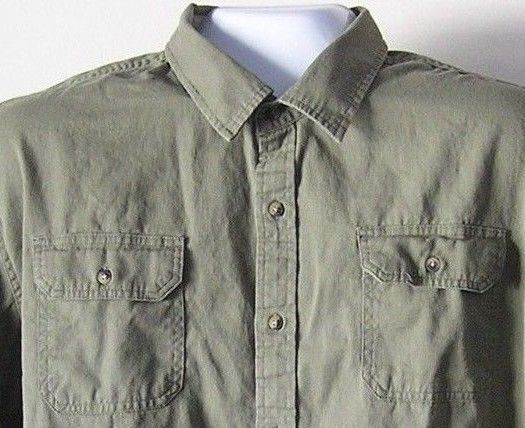 Men's Long Sleeve Casual Dress Shirt Wrangler Size 3XL Army Green Heavy Material