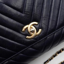 100% AUTH CHANEL CHEVRON QUILTED CALFSKIN ROYAL BLUE MEDIUM COCO HANDLE BAG GHW image 4