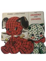 Vintage Hallmark Hall Brothers Stuffed Dog & Cat Christmas Card to Grandparents - $5.93