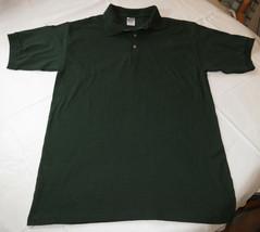 Gildan Activewear Ultra Cotton adult mens short sleeve Polo shirt L dk green NOS - $13.36