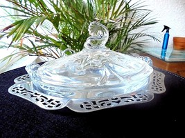 Heisey Queen Anne #1509 Pattern Floral Etched Lemon Dish w/Metal Tray - $108.85
