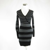 Gray black striped ANN TAYLOR LOFT stretch long sleeve sweater dress XXS - $14.99