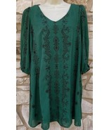 As U Wish Dress Women's S Green 3/4 Sleeve Keyhole Black Embroidery Lined - $24.99