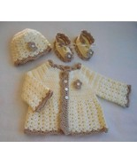 ivory baby sweater set, baby girl sweater and hat, 0 to 3 months baby gi... - $60.00