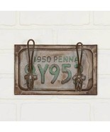 New distressed tin LICENSE PLATE wall hanger w/ 2 Hooks - $18.69