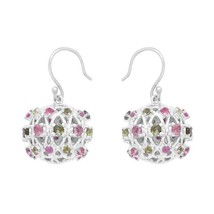 Multi Tourmaline Gemstone 925 Sterling Silver Open Hook Earring SHER0473 - $46.44