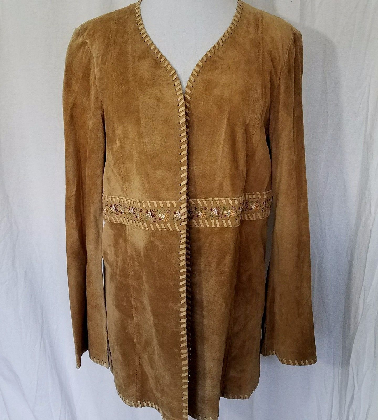 Vintage Brown Suede Jacket Embroidered Waist Flared Sleeves Leather Lacing Sz M