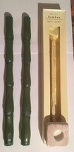 """Bamboo Tapered Candles Pair Green with One Holder 12"""" Milkwear - $16.83"""