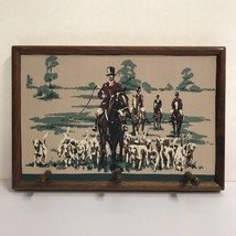 Vintage Wood Fox Hunt Hound Dogs Scene Wall Hanging Hat Rack 3 Pegs Hunting - $67.72