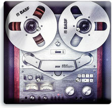 VINTAGE REEL TO REEL RECORDER PLAYER LIGHTSWITCH OUTLET PLATE MUSIC STUDIO DECOR image 9