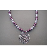 Burgundy  Lavender Glass Pearls Necklace Pendan... - $23.50