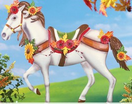 Fall Yard Decorations Metal Decorated Horse Garden Stake Autumn Flowers ... - €34,31 EUR