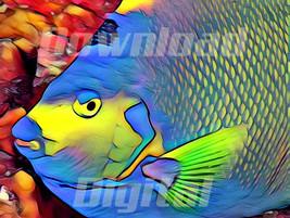 Digital download fish ocean sea lifesea coral gold Wallpaper Painting Wa... - $5.00