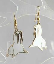 Fabulous Genuine Cloisonne Enamel White Walrus Pierced Earrings 1970s  1... - $14.20