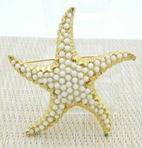 White Bead Beaded Large Starfish Gold Tone Pin Brooch Vintage - $19.79