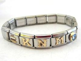 Stainless steel & 18k jad initialed stretch charm bracelet - $35.00