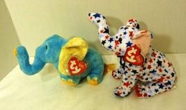 TY BEANIE BABIES 2 Elephants: Jimbo Light Blue 2003 & Righty 2004; Mint Tags - $15.98