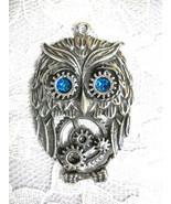 NEW STEAMPUNK HOOT OWL w BLUE EYES GEARS USA PEWTER PENDANT ON ADJ CORD ... - $11.99