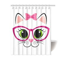 Unique Design Cute White Kitten With Pink Bow And Glasses Custom 12 holes to whi - $30.99