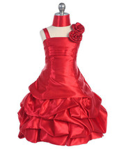 Elegant Girl's Fuchsia or Red Flower Girl Pageant Party Dress w/Pick-ups - $50.99
