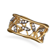 Gold Plated Vine Design CZ Ring - $69.99