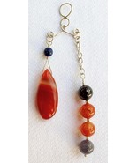 "Sterling Silver ""In-Balance"" Pendant with Carnelian and Amethyst - $50.00"